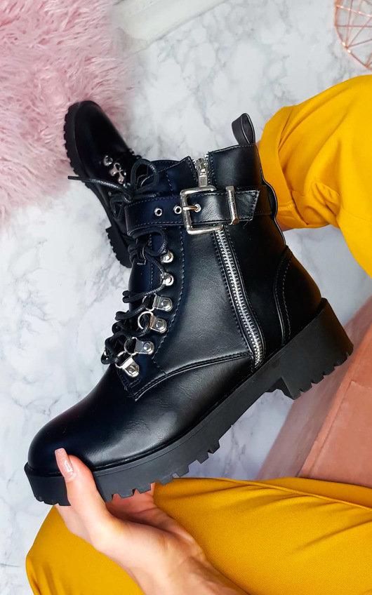 Amber Buckle Biker Boots
