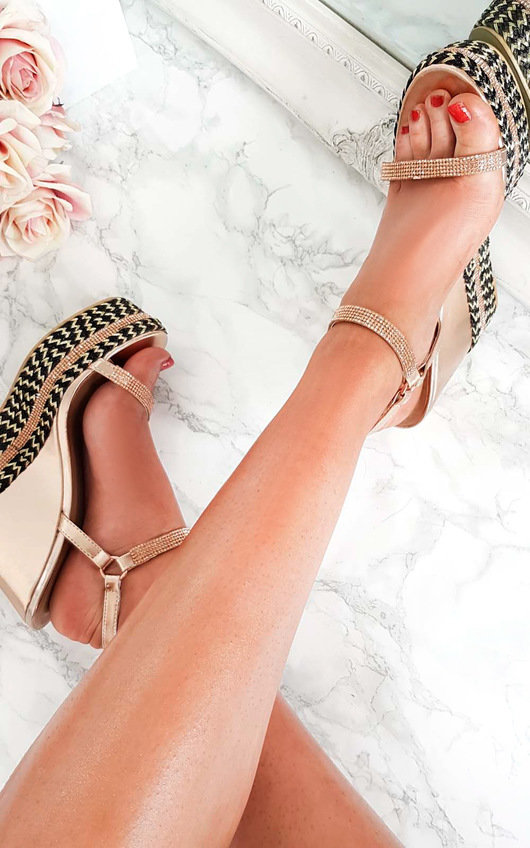 Amber Embellished Aztec Roped Wedges