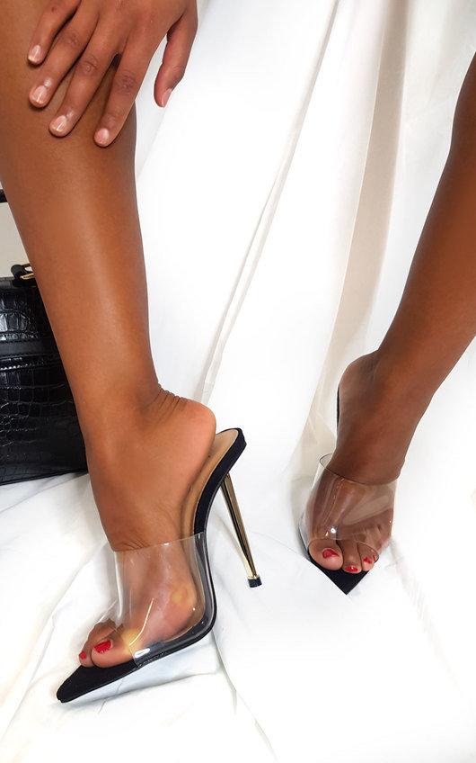 Amber Perspex Mule Heels