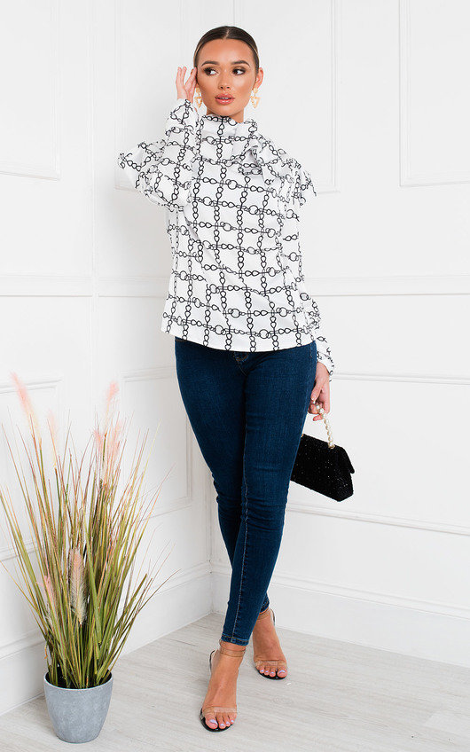 Amberly Puff Sleeve Patterned Top