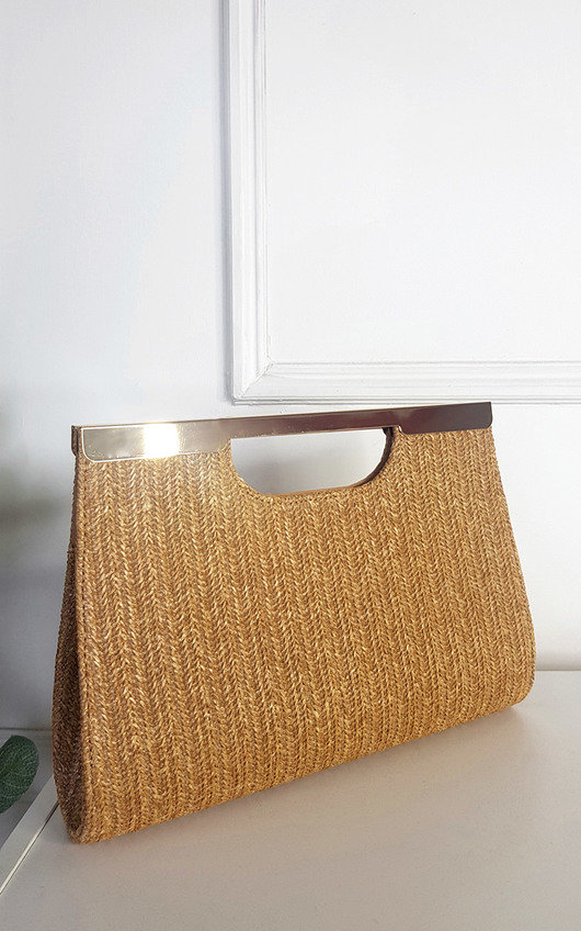 Amelia Woven Clutch with Metal Bar Detail