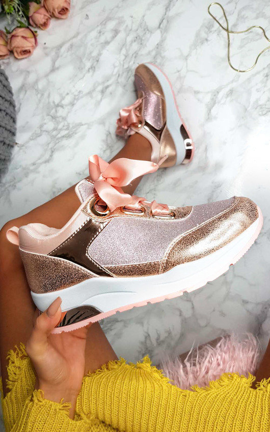 Amila Chunky Sole Glitter Sport Trainer in Pink