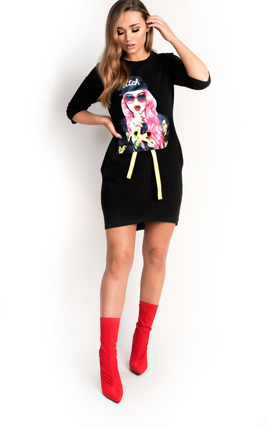 75df91663ed Ana Pearl Girl Slogan T-Shirt Dress in Black