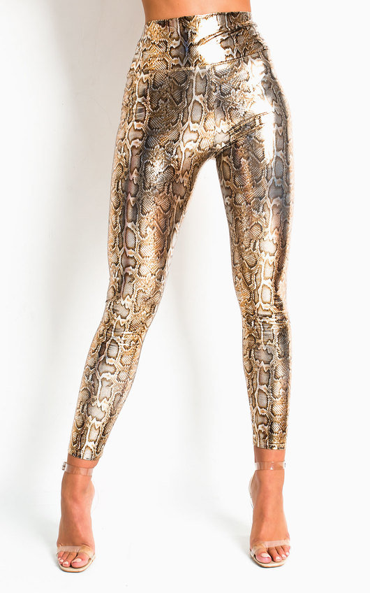 Ana Snake Print High Shine PU Leggings