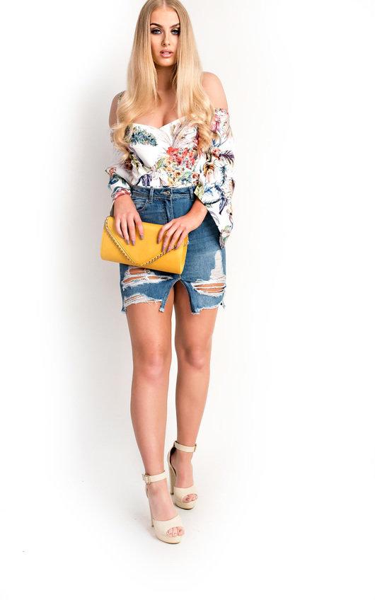 Anah Flare Sleeve Tropical Bodysuit