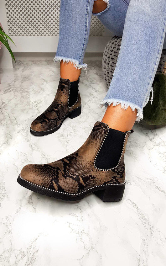Andi Faux Suede Printed Ankle Boots