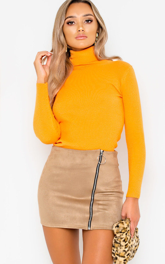 Andi Zip Up Faux Suede Skirt