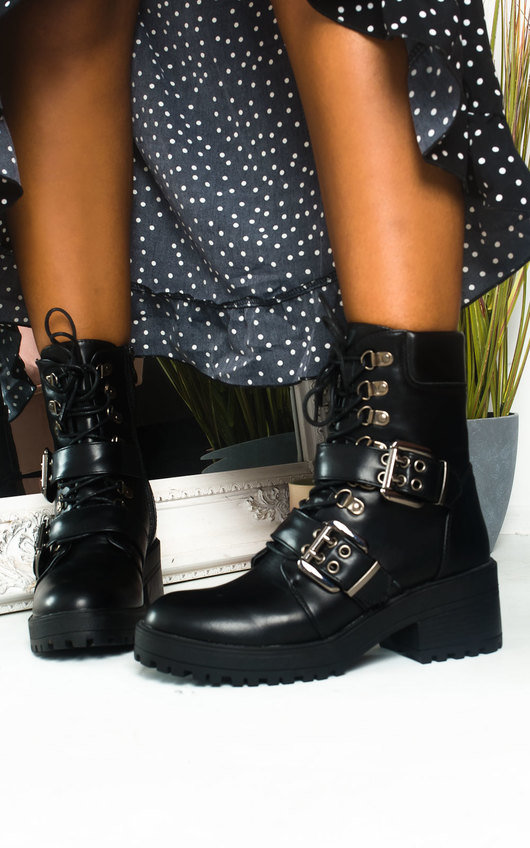 Andrea Lace Up Chunky Buckle Ankle Boots