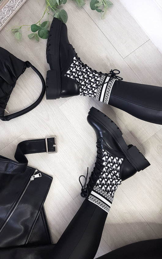 Andrea Printed Lace Up Mid Calf Sock Boots