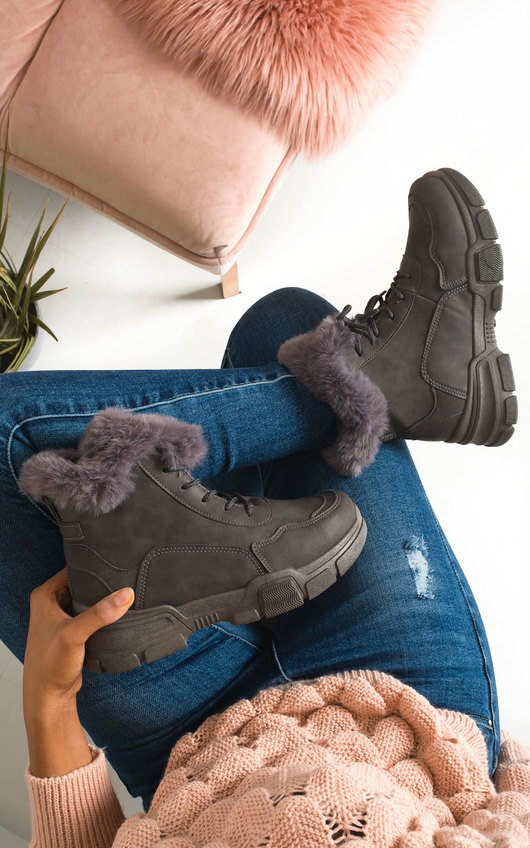 Angelina Faux Fur Lace Up Desert Boots