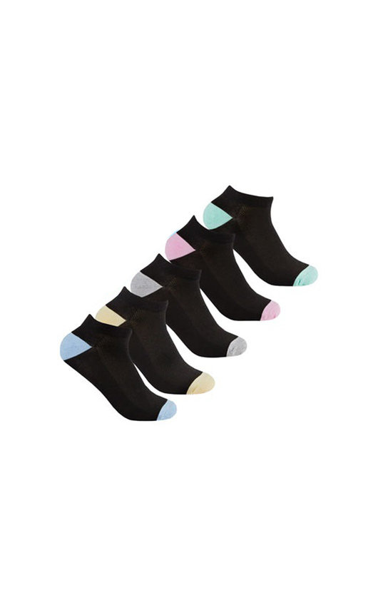 Ankle Socks Multi Pack in Black with Pastel Colour