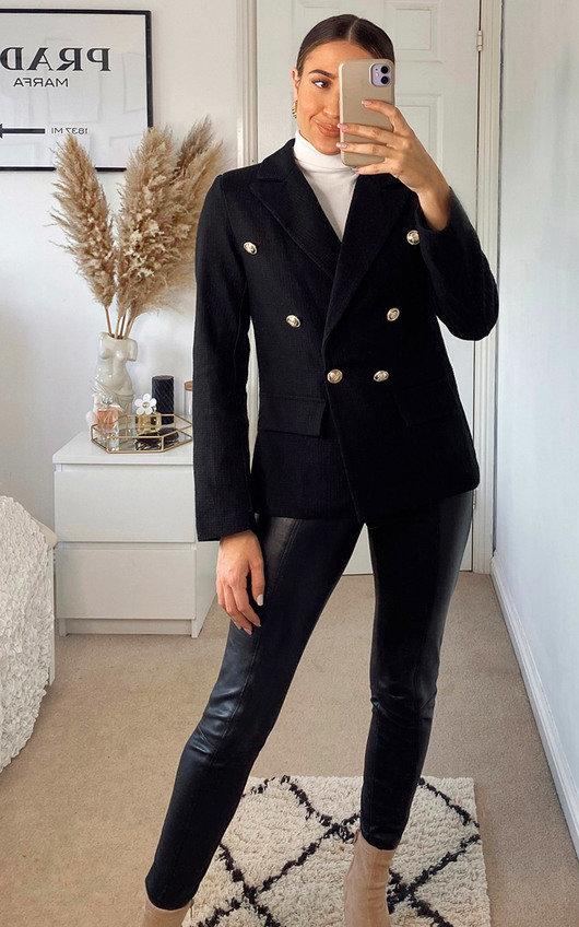 Anna Structured Blazer with Button Detail
