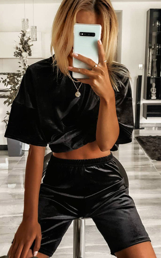 Anna Velvet Tshirt and Shorts Co-ord