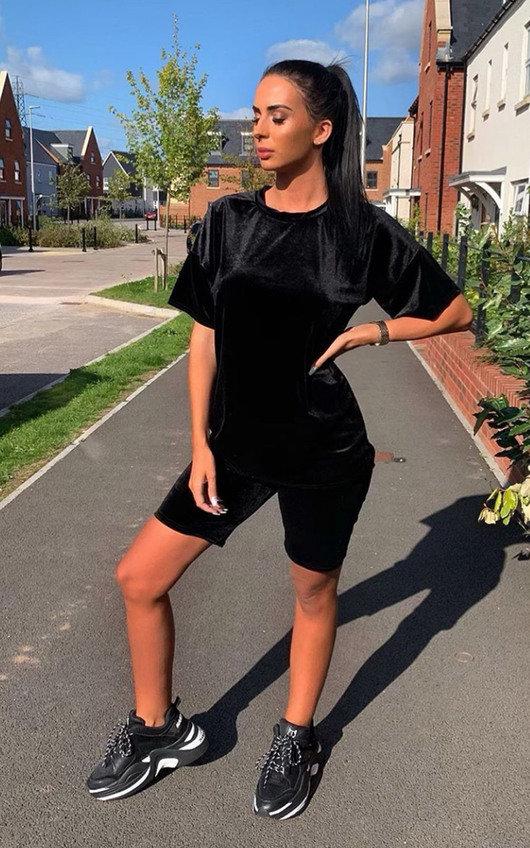 Anna Velvet Tshirt and Shorts Co-ord