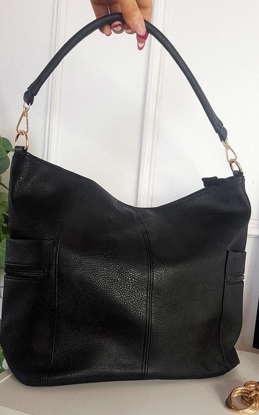 Anne Faux Leather Shoulder Bag with Side Pocket Zip Detail
