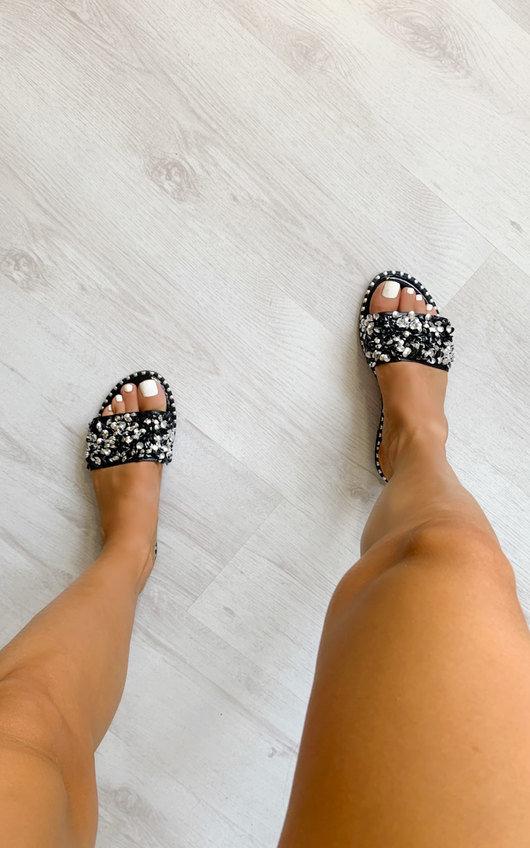 Anya Embellished Slip On Sandals