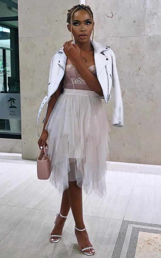 April Layered Net Midi Skirt