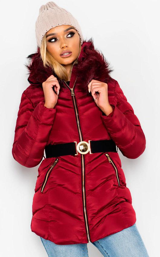 April Padded Faux Fur Hood Belted Jacket