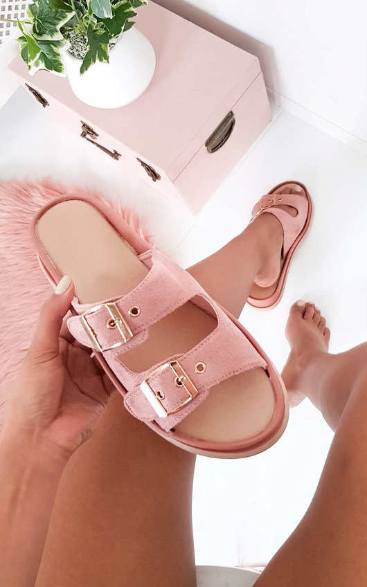 Ari Double Buckle Wedged Sandals