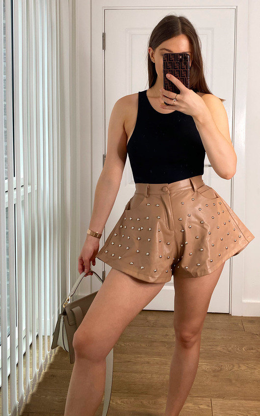 Ari Flared Faux Leather Shorts