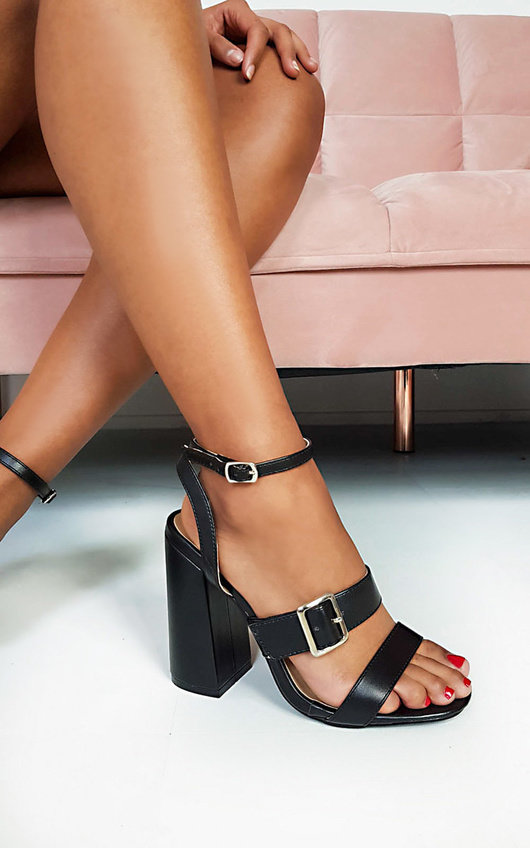 Aria Buckle Block Heels