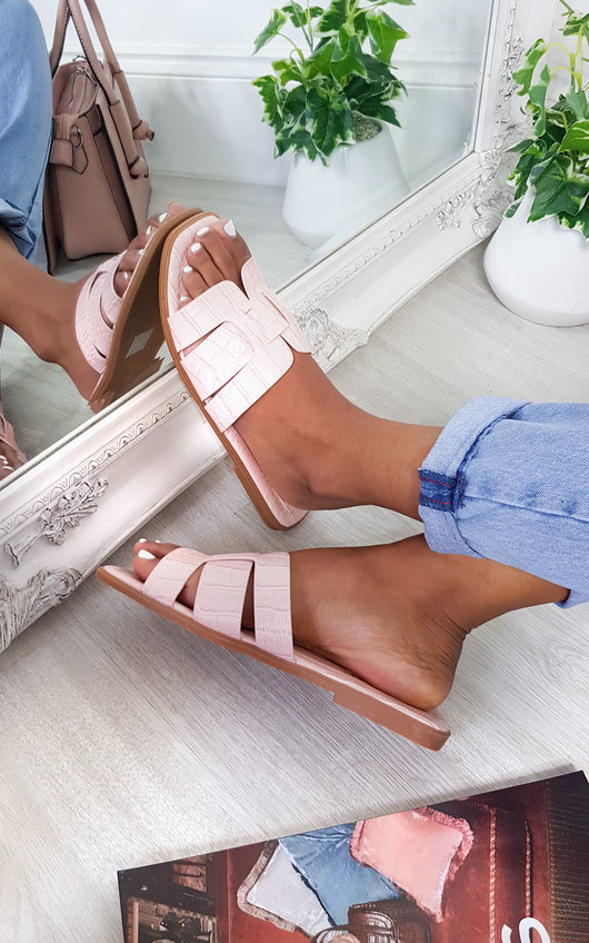 Aria Faux Leather Slip On Sandals