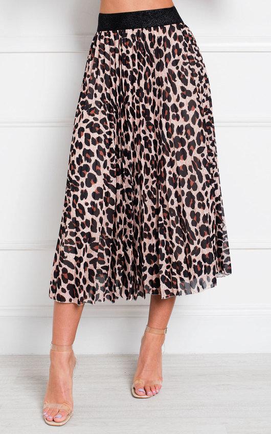 Aria Pleated Animal Print Midi Skirt