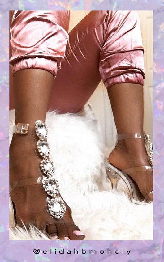 Ariana Embellished Perspex Heels