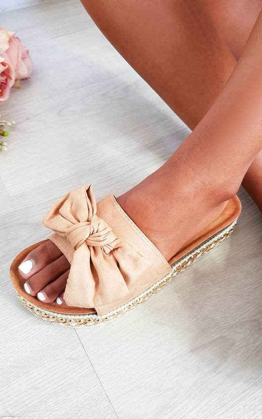 Arianna Bow Woven Flatform Sandals