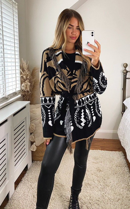 Ariel Oversized Knitted Cardigan with Belt and Fringe Detail