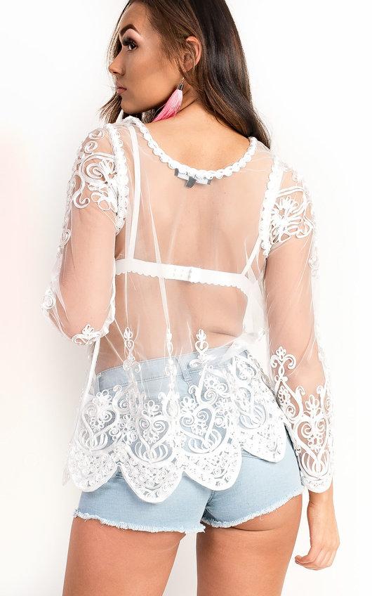 Ariella Mesh Ribboned Applique Top