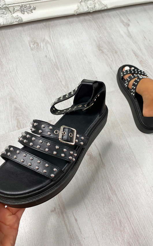 Arielle Studded Chunky Buckle Fastening Sandals