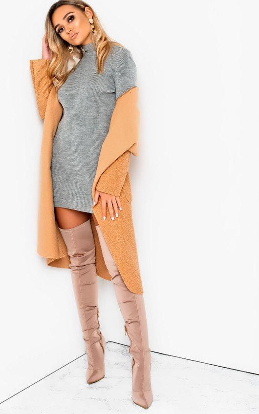 Arina High Necked Ribbed Bodycon Dress