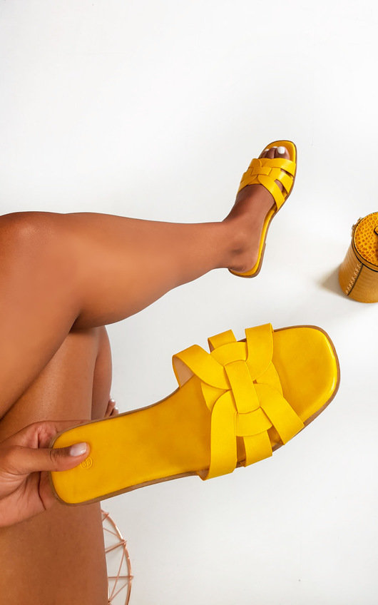 Arya Faux Leather Slip On Sandals