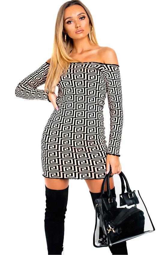 Asha Off Shoulder Printed Bodycon Dress