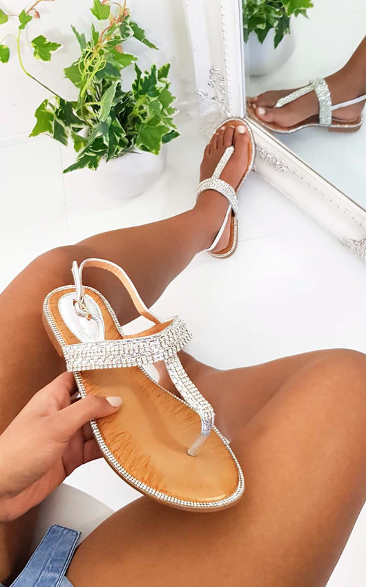Asher Diamante Embellished T-Bar Sandals