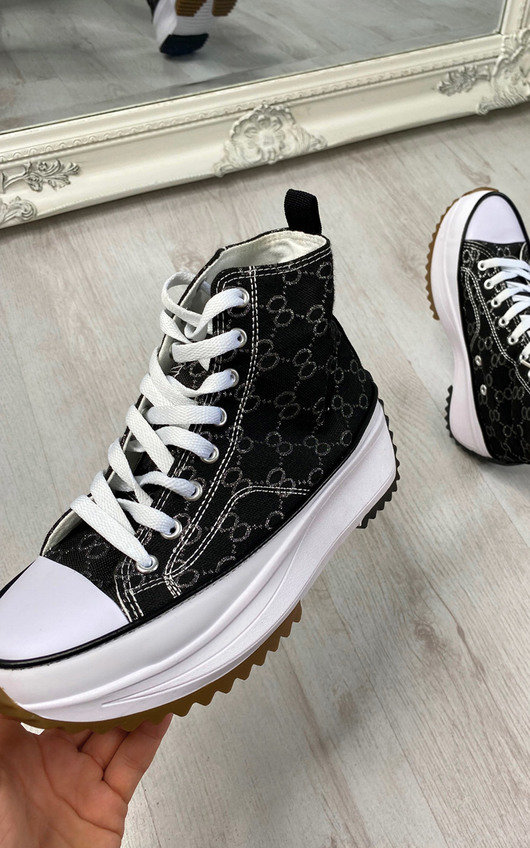 Asia Lace Up Chunky High Top Trainers
