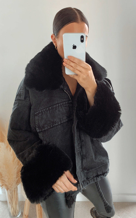 Aster Faux Fur Denim Bomber Jacket