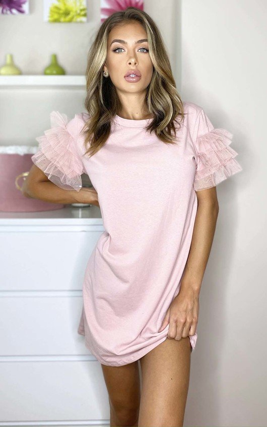 Astrid Tulle Sleeve T-Shirt Dress