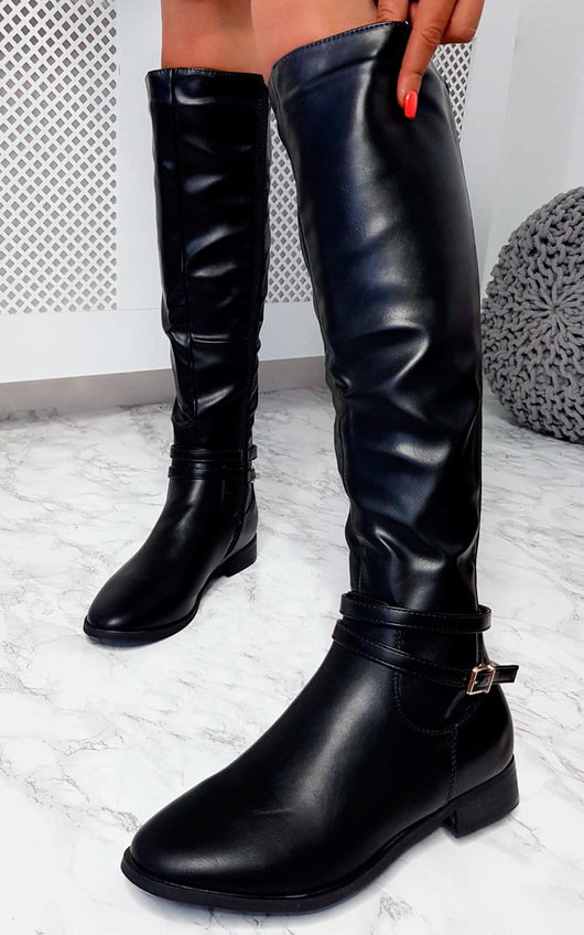 Aubrey Faux Leather Knee High Stripe Boots