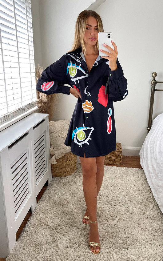 Auri Oversized Printed Shirt Dress