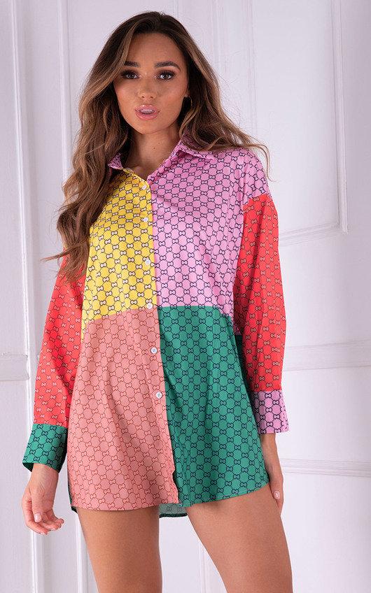 Aurora Colour Block Printed Button Up Shirt