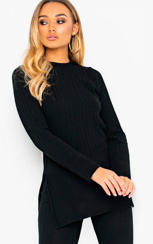 8f2cdfd76f Ava Knitted Lounge Co-ord in Black
