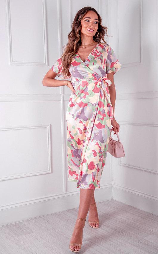 Avery Wrap Printed Midi Dress