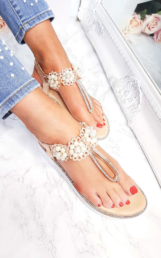 Aviana Pearl Embellished Wedged Sandals