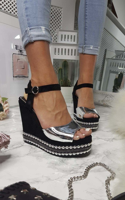 Avril Metallic Studded Wedges
