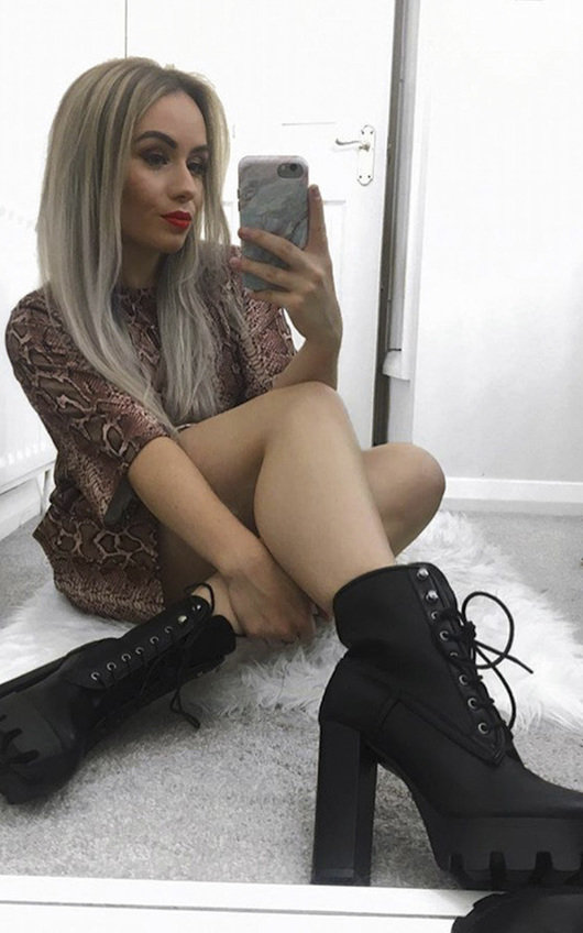 Ayda Faux Leather Lace Up Heeled Boots