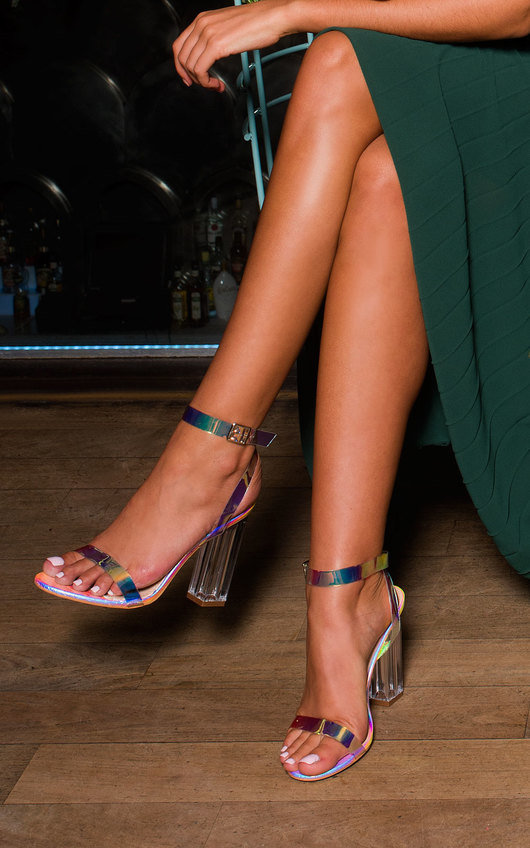 Bailey Iridescent Barely There Block Heels