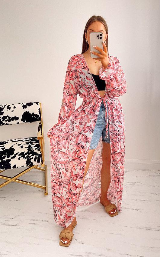 Bambi Printed Belted Kimono