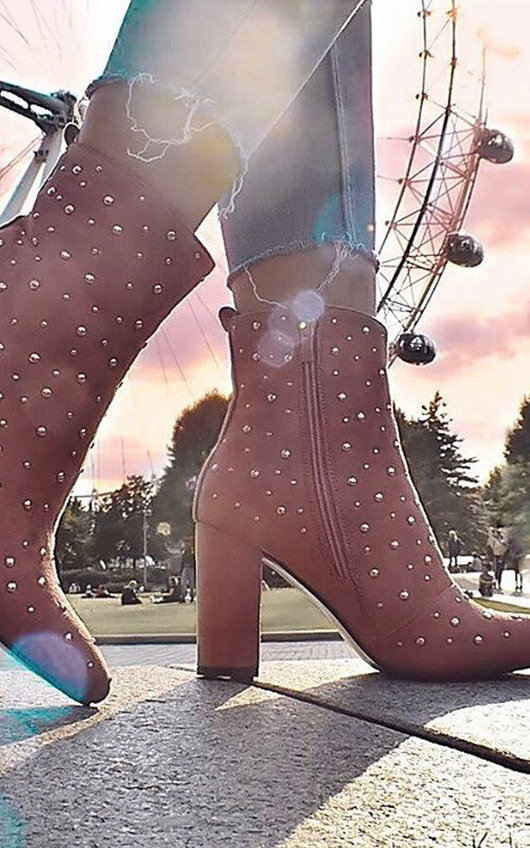 Bambi Studded Heeled Ankle Boots